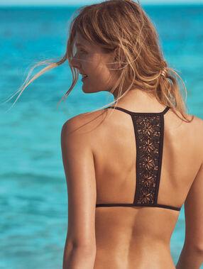 Sujetador bikini triangular con motivos croché negro.