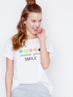 Camiseta mensaje smiley blanco.