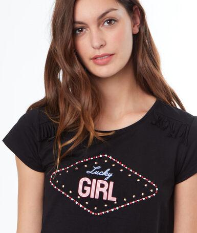 Camiseta estampada negro.