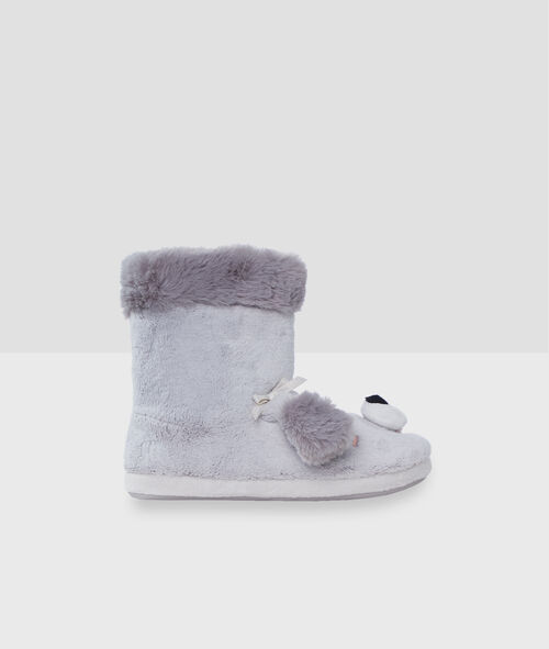 Zapatillas tipo botines tejido peluche perro