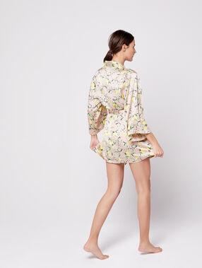 Bata tipo kimono estampado limones c.beige rosa.