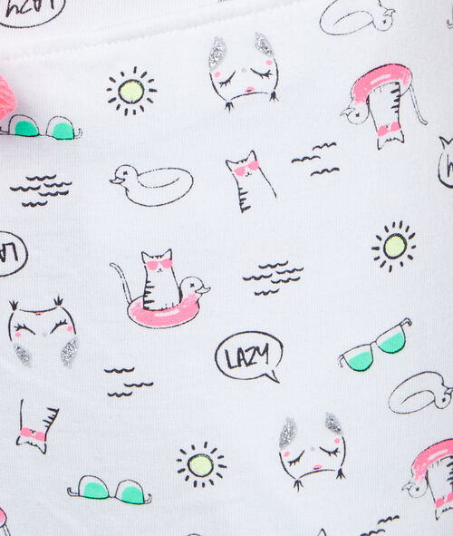 Pantalón corto estampado de gatos