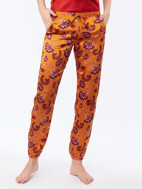 Pantalón satén estampado cachemira c.ocre.