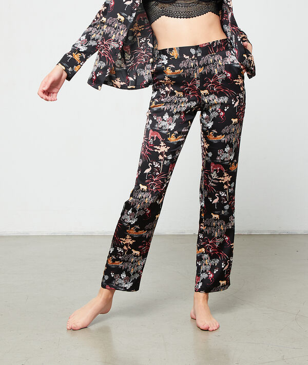 Pantalón de satén estampado oriental