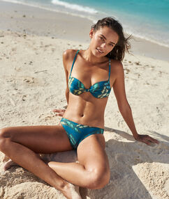 Braguita bikini estampado tropical imp azul verde.