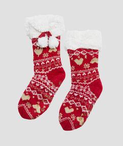 Calcetines motivos navideños rojo.