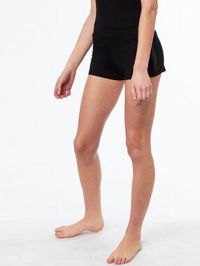Pantalón corto motivos encaje negro.