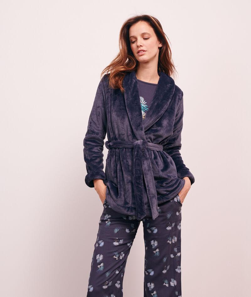 Pijama 3 piezas estampado, chaqueta forro polar