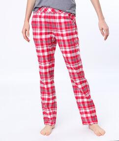 Pantalón largo estampado a cuadros rojo.