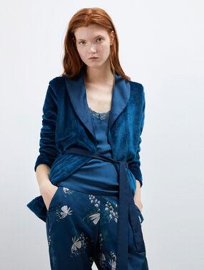 Pijama de 3 piezas satén  azul.