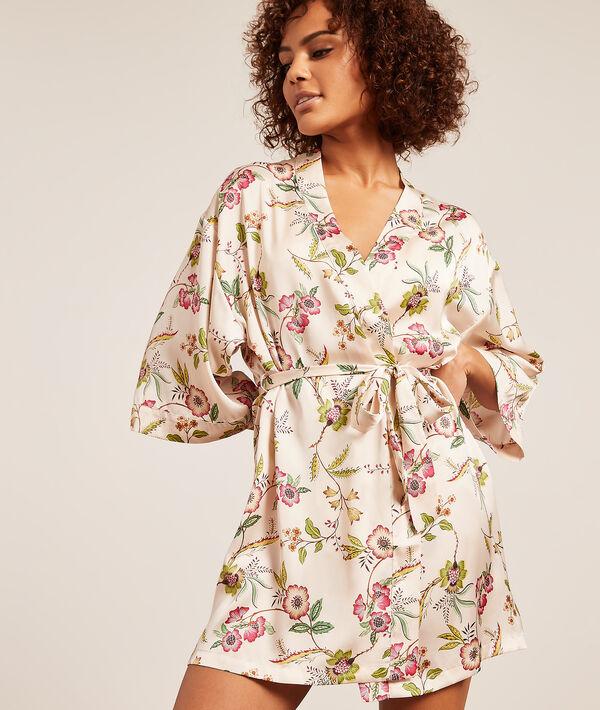 Kimono de satén, estampado floral;${refinementColor}