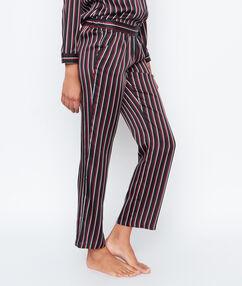 Pantalón de satén estampado a rayas negro.