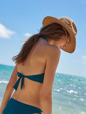 Sujetador bikini triangular escote tiras cruzadas verde.