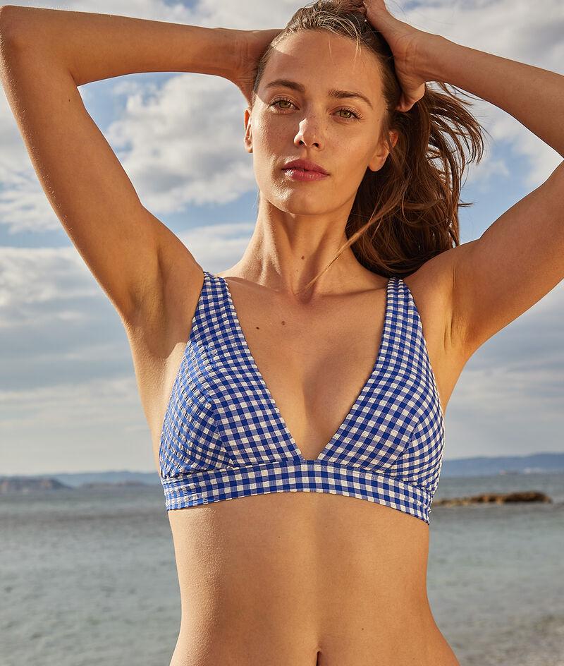 Sujetador bikini triángulo, estampado vichy;${refinementColor}