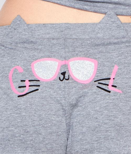 Pantalón corto estampado gatos