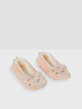 Zapatillas tejido peluche gato rosa.