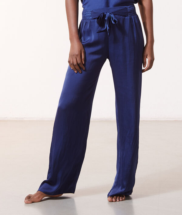 Pantalón pijama ancho de satén;${refinementColor}