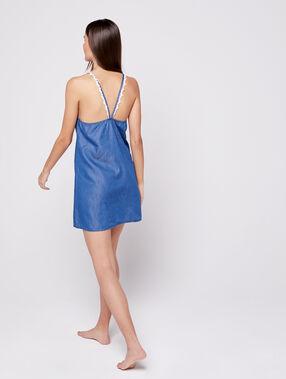Camisón efecto denim bordados de encaje azul.