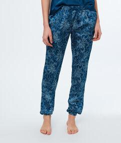 Pantalón de satén estampado azul.