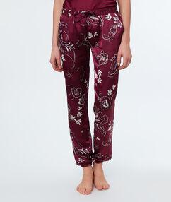 Pantalón pijama estampado burdeos.