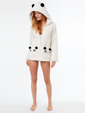 Chaqueta tejido peluche panda crudo.