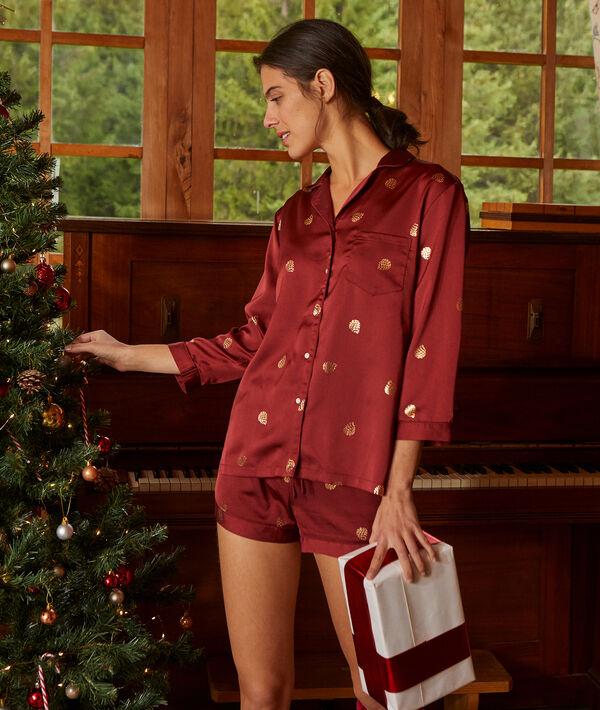 Pantalón pijama de satén estampado hojas