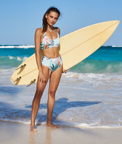 Braguita bikini talle alto estampado floral multicolor.