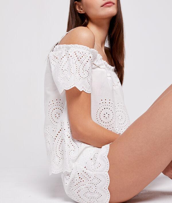 Pantalón corto algodón bordado