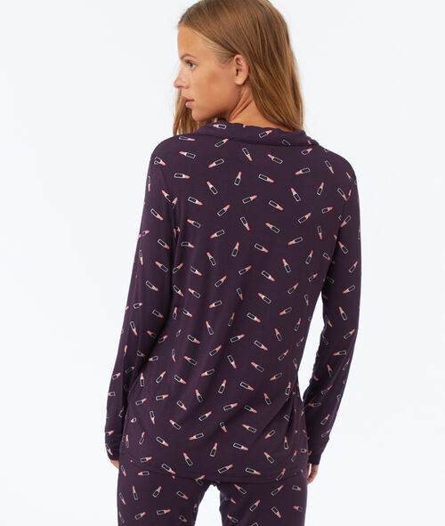 Camisa pijama estampado pintalabios