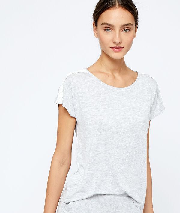 Camiseta de viscosa y encaje;${refinementColor}