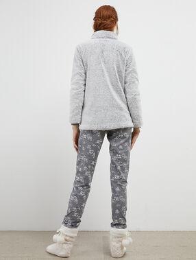 Pijama 3 piezas oso y pingüino c.gris.