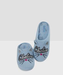 Zapatillas estampado gato crudo.