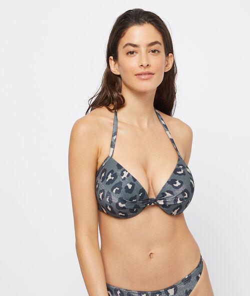 Sujetador bikini con foam estampado leopardo. Copa C-D