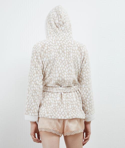 Chaqueta tejido peluche con capucha
