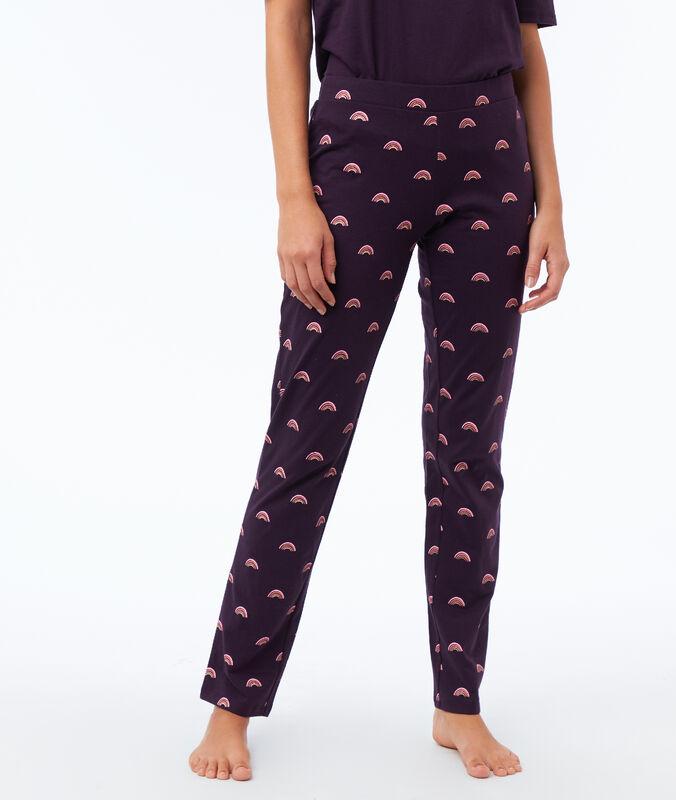 Pantalón estampado arcoíris violeta.