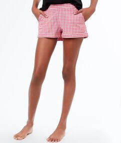 Pantalón corto cuadros vichy rosa.
