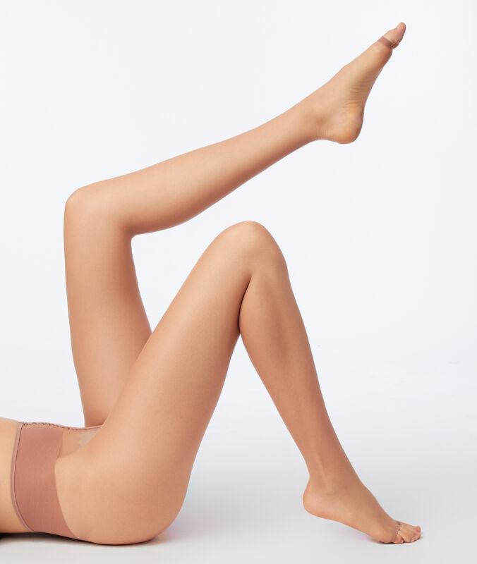 Medias finas con efecto piernas desnudas y abertura en los dedos de los pies arena.
