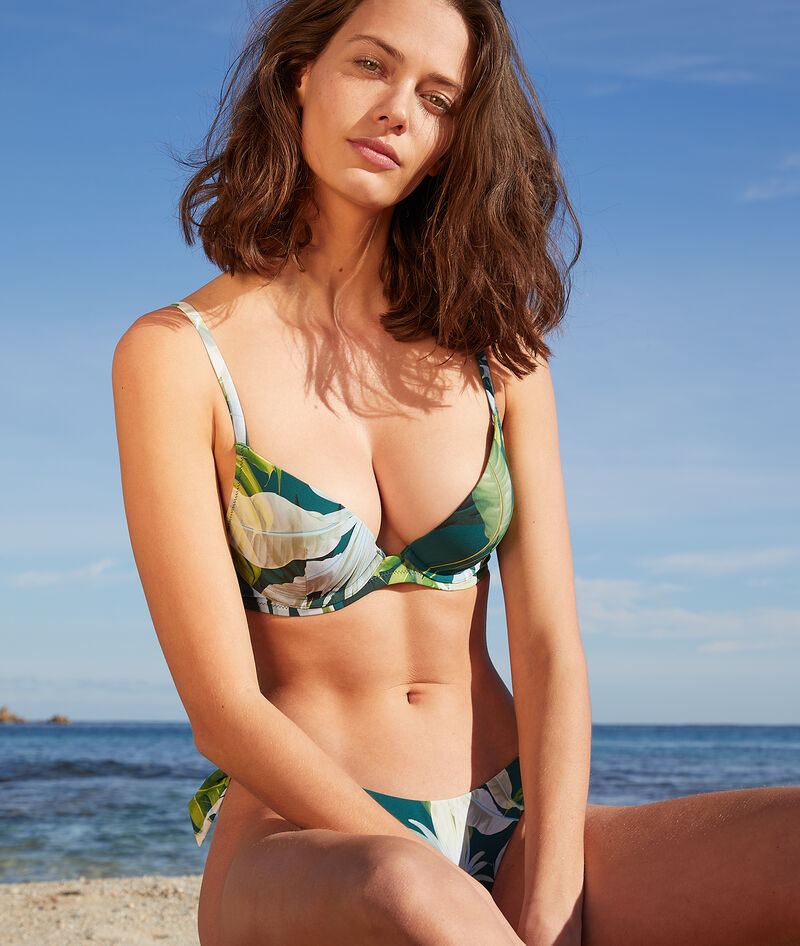 Sujetador bikini push up estampado tropical. Copa B-C