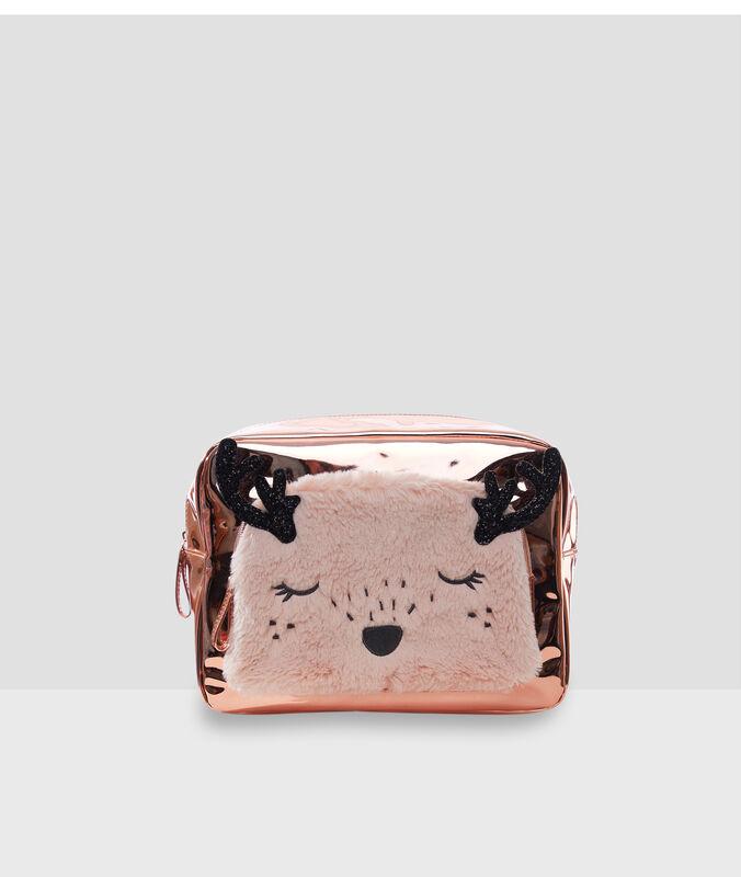 Neceser metalizado ciervo rosa.