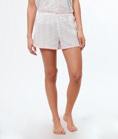 Pantalón corto pompones decorativos blanco.