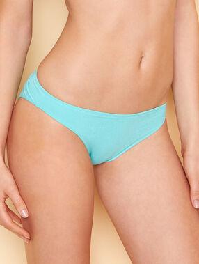 Braguita bikini fibras metalizadas turquesa.