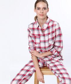 Camisa pijama estampado a cuadros rojo.