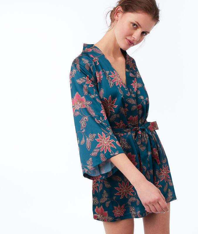 Kimono estampado floral turquesa.