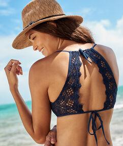 Sujetador bikini triangular motivos crochet azul marino.