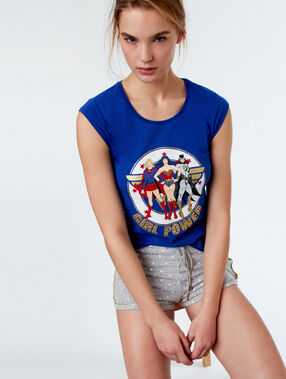 Camiseta girl power azul.