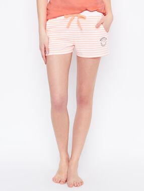 Pantalón corto estampado a rayas smiley naranja.