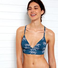 Sujetador bikini triangular estampado tigres azul.