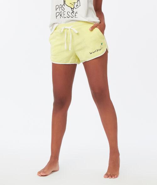 Pantalón corto con mensaje