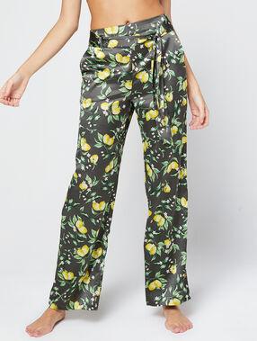 Pantalón largo de satén estampado de limones c.gris.