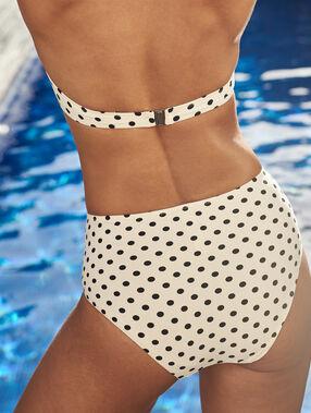 Braguita bikini talle alto estampado lunares crudo.